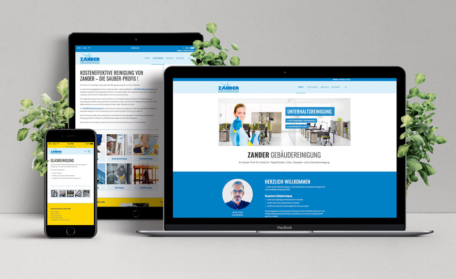 Zander Gebäudereinigung-ihr Sauber-Profi: Relaunch des Webauftritts